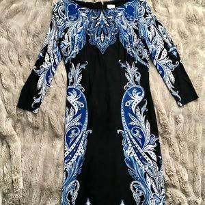 CACHE Blue & Black Boho Dress